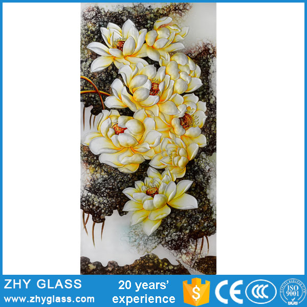 Wholesale Decorative Wall Hanging Glass Painting Pictures Of Flowers