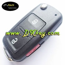 Wholesale price 2+1 button flip key shell with black logo for vw key maker