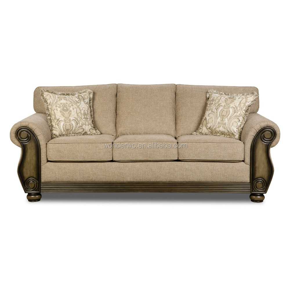Fabric Fully Upholstered Wooden Frame Three Seat Sofa With Soft Cushions Buy Chesterfield