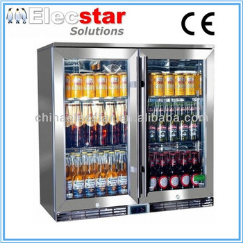 Elecstar LG series double glass door display back bar cooler/stainless steel refrigerator/beer chiller/alcohol fridge