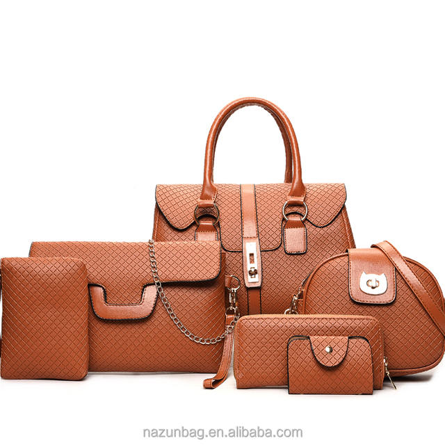 China supplier 6 bags in 1 style custom fashion classic quality leather woman handbags and purse