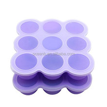 silicone baby food container with Clip-On Lid Cubes food storage container