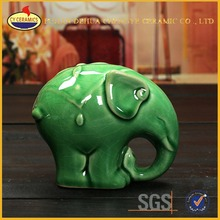 green glaze good lucky elephant ceramic art crafts for indoor decorations