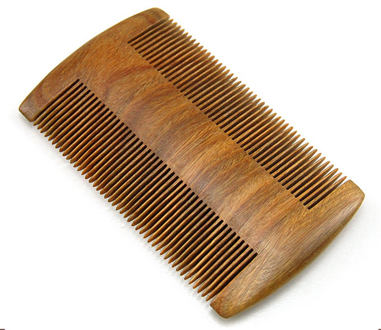 FQ Brand Wholesale Sandalwood Beard Comb custom logo Two Side Teeth Beard Comb Portable Beard Comb