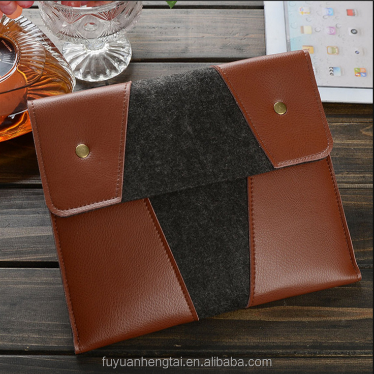 Low-cost felt laptop bag ,leather attaced felt laptop case,felt sleeve with elegant shape