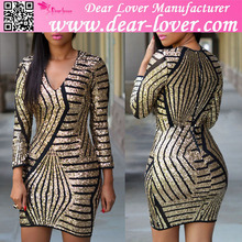 Latest design hot fashion style sexy long sleeve gold sequin dress for women