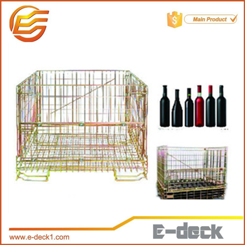 foldable and stackable storage wire mesh box