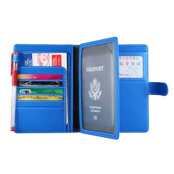 Multi-function Family Leather Passport Card Wallet Travel Document Organizer