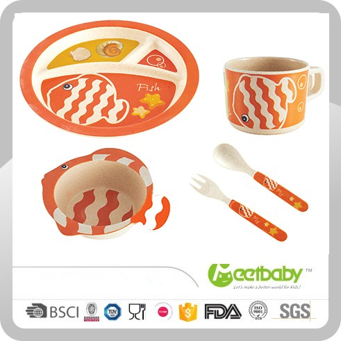 Children's melamine tableware/Kids Bamboo Dinnerware Set/Bamboo fiber tableware