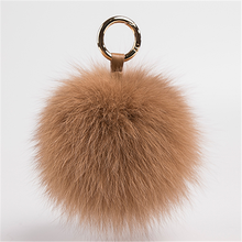 2017 popular Fur Ball Handbag Fox Fur Keychain Custom animal pom poms Keyring