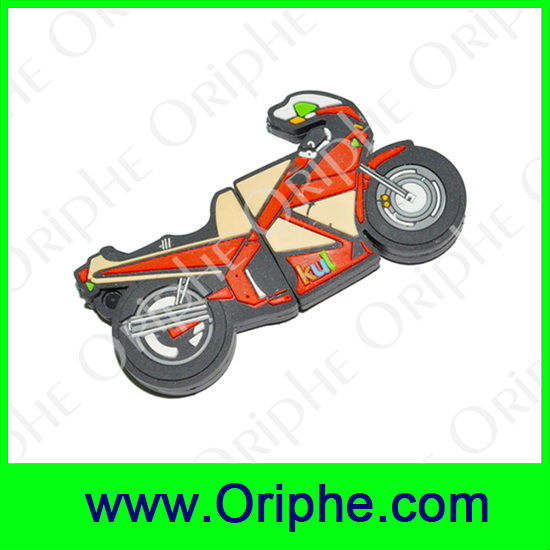 Motorcycles, racing Shape PVC Customized USB Flash Drive(UPVC0007)