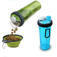 Portable silicone Pet food bowl travel camping drink water bottle for dog and Water Bottle with Collapsible Bowl