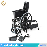 European and American style folding portable Medical Care Wheel Chair with Steel frame for elderly/ disabled