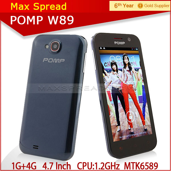 original Pomp W89 1g ram 4g rom MTK6589 4.63 inch screen 854*480 1.2 GHz quad core-CPU mobile phone android
