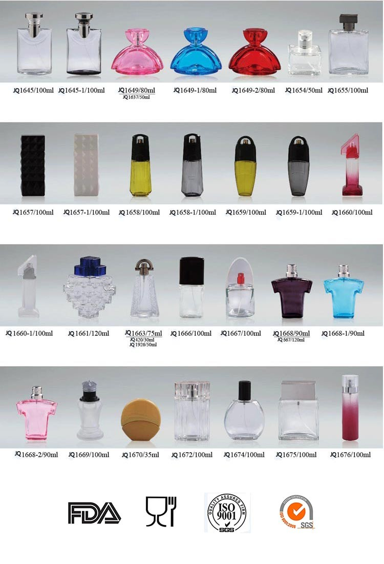 Hot selling perfume bottle with cap, 50ml fashion body perfume oil spray glass bottle manufacturers