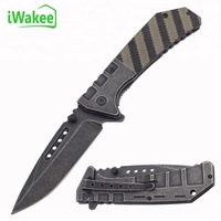 Stonewashed Stainless Steel Folding Pocket Knife in two-colour G10 handle