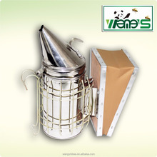American Type Stainlees Steel Bee Hive Smoker Leather or Corium Blowbox Beekeeping Equipment