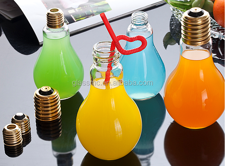 Colored airtight light bulb shape glass juice bottle with straw 16oz