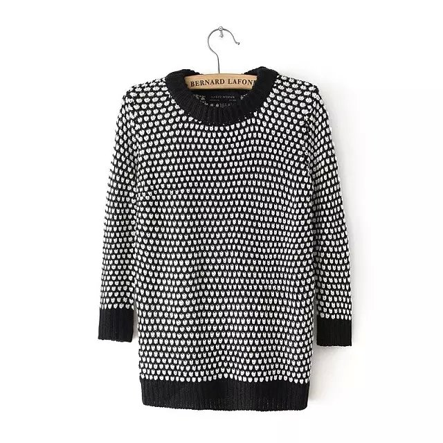 Womens Black & White Long Sleeves Knitted Sweaters Autumn Pullovers Cardigans Female Korean Style Winter Jumpers Sueter Tops