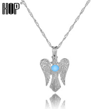 Fashion <strong>Silver</strong> Plated Glowing in the Dark Angel Pendant Necklace For Women