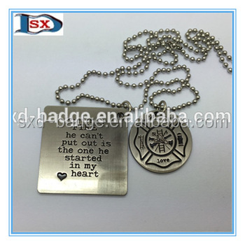 Personalized zinc alloy dog tag/die casting metal dog tag for firemen/Antique nickel plated dog tags set