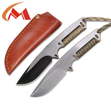 D2 fixed blade fish Hunting survival pocket knife with Paracord outdoor Camping tactical knife equipment