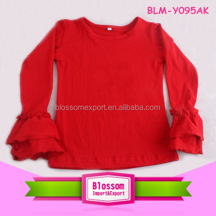 Plain long sleeve wholesale t-shirt children baseball t shirt girls blank ruffle sleeve t shirt