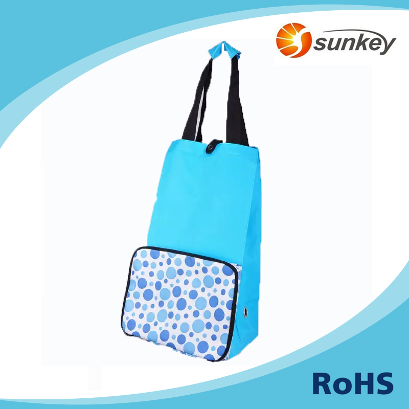Colorful foldable polyester 2 wheels supermarket shopping bag