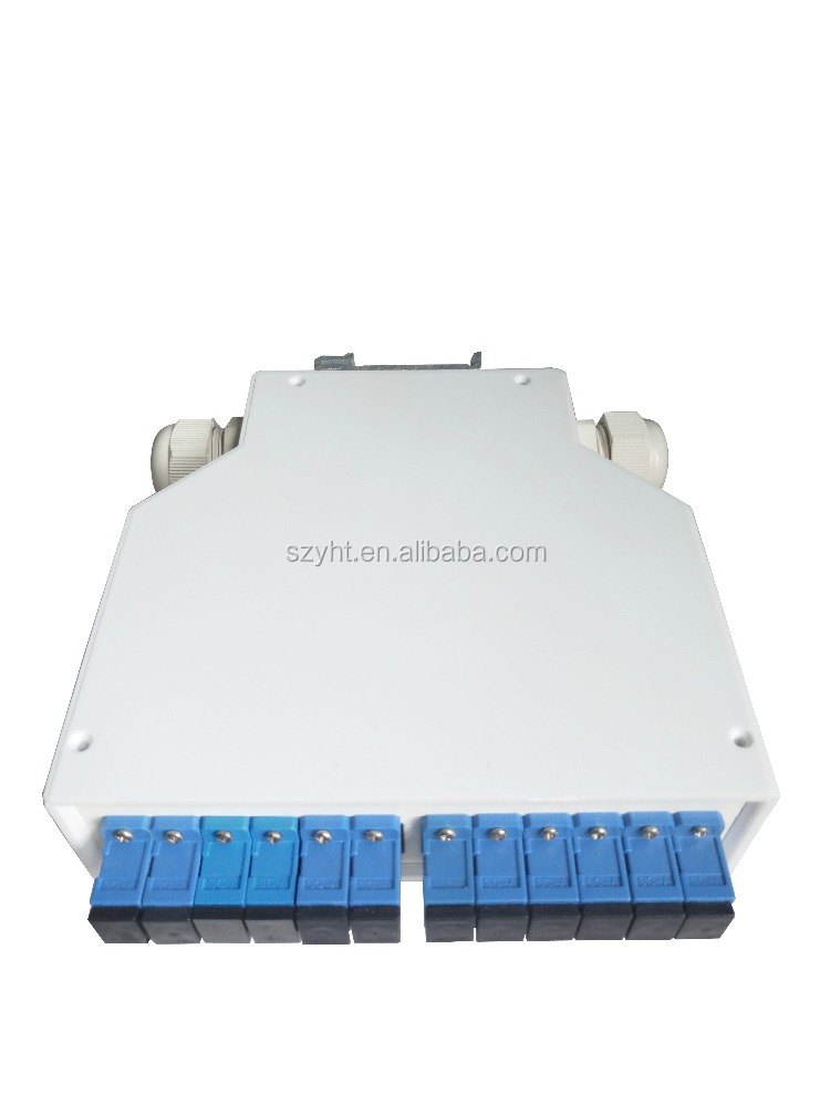 Plastic Telecommunications DIN Rail Splice Fiber Optic Terminal Box 12 Core