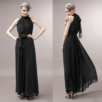 Summer party latest design Ladies Elegant Sexy Off Shoulder Chiffon Arabic Women Long Dress 16636 boutique