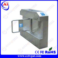 Fast pass RFID interface stainless steel security bi-directional led direct turnstiles opening swing gate mechanism