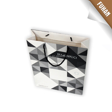 Foldable and high grade printing eco-friendly white paper shopping bag