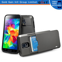Tough metal back cover case with card slot for Samsung S5