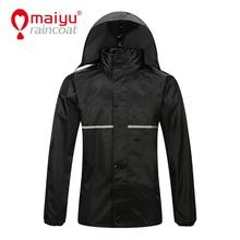 Maiyu waterproof rubber rain coat for men with reflective tape