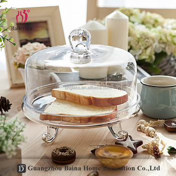 Hot Selling Wedding Decoration Clear Glass Cake Plate and Glass Cupcake Stand With Dome And Base