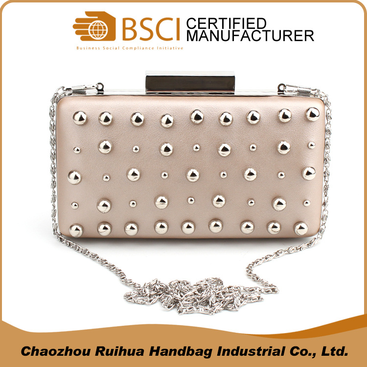 Italian metal frame clasp rivet clutch bag hard case evening bag