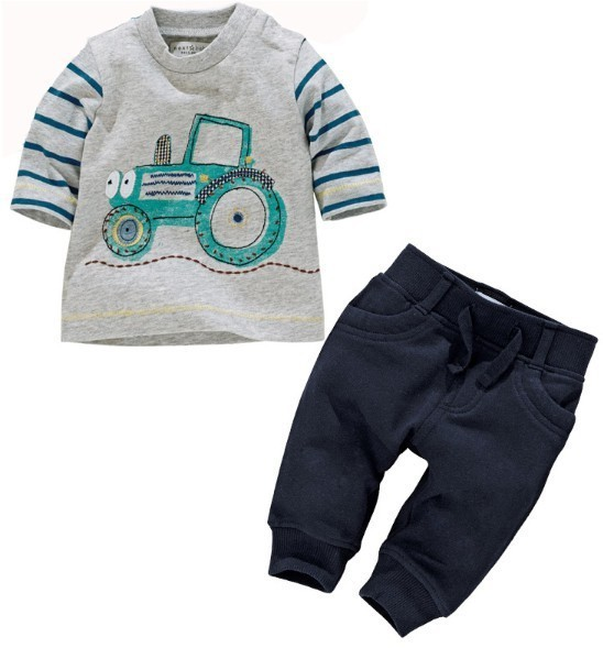 Korean casual cotton knit striped top+pants matching boys clothing sets for autumn wear