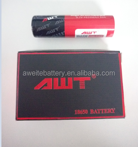 AWT 18650 2600mAh 50A 3.7v IMR rechargeable battery for sx350 mod sx mini q class chip mod