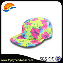 High quality floral printed 5-panel hat fold 5 panel flat brim snapback hat