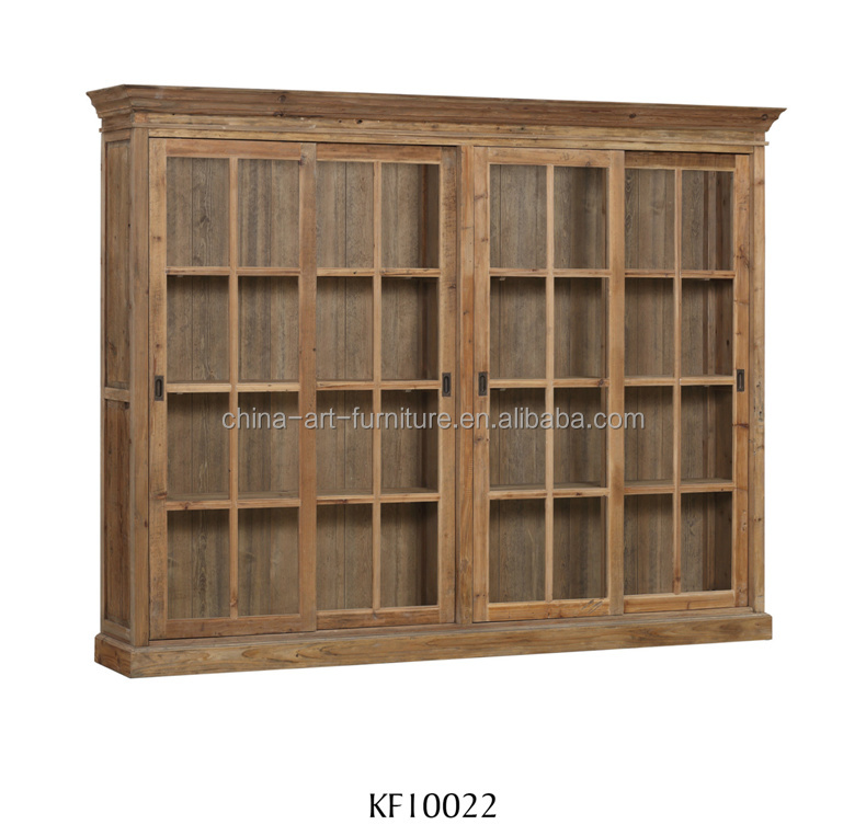 Rustic industrial bookcase with slide glass doors, antique Living study room disply <strong>cabinet</strong>