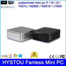 "OEM China Fan Mini PC Barebone Intel Core i7 i5 i3 Haswell Broadwell Processor Aluminum Case WiFi HDMI USB 3.5"", 2.5"" SSD, HDD"