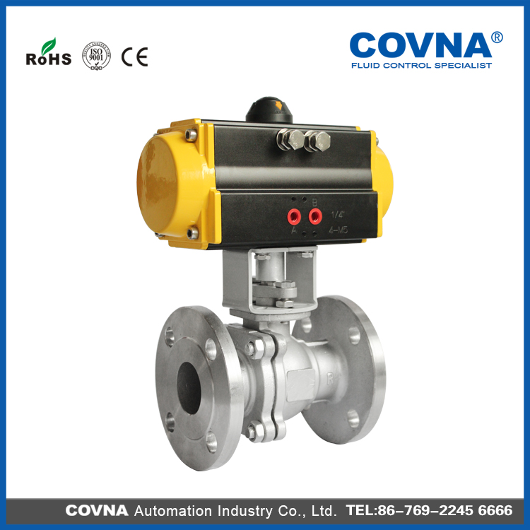 flanged type DN50 2 way pneumatic actuator ball valve