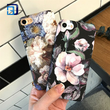 Factory price Flower Decal water printing hard PC phone case scrub relief phone cover for iphone 7