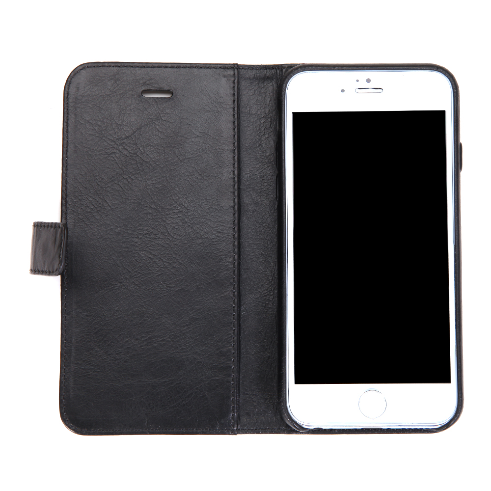 mobile accessory black cowhide genuine leather cover case for iphone 6/6s with card holder