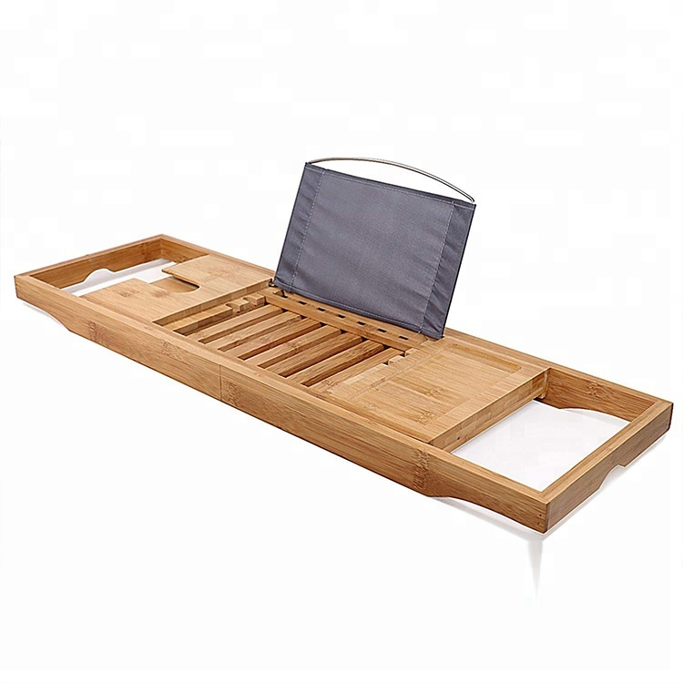 Hot Selling Bamboo Bathtub Caddy Tray with 12-in-1 Features Spa Bath tub Tray Rack