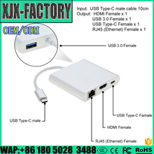Top 3 factory!Exquisite technical 3 usb port ethernet splitter TYPE C TO HDMI+USB3.0+RJ45+AUDIO+PD Adapter