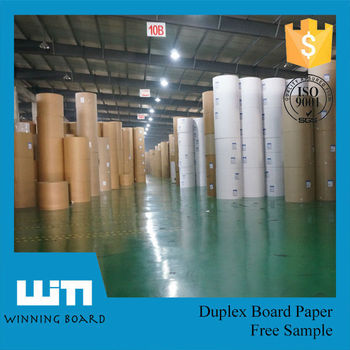 Fuyang PAPER 250gsm One Side White Coated Duplex Board Grey Back Paper Role