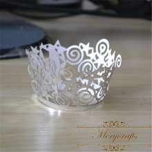 Metallic silver laser cut cupcake wrappers for wedding party decorations