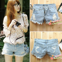 Japan and South Korea a small chili with tassel burr hole denim shorts - shorts Jeans for women lady girl