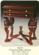 4 Swan Leg Table 2 Drawer Mahogany Indoor Furniture.